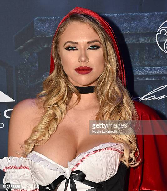 Model Antje Utgaard arrives at The 2016 MAXIM Halloween Party produced by Karma International where guests sipped on CÎROC Mango Tequila Don Julio...