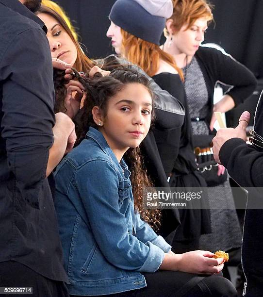 Model Antonia Gorga prepares backstage at the Rookie USA Presents Kids Rock Fall 2016 New York Fashion Week The Shows at Skylight at Moynihan Station...