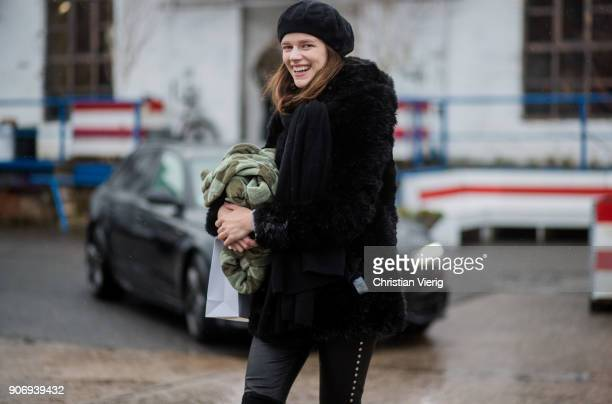 Model Antonia Wesseloh is seen outside Marina Hoermanseder during the Berlin Fashion Week January 2018 on January 18 2018 in Berlin Germany
