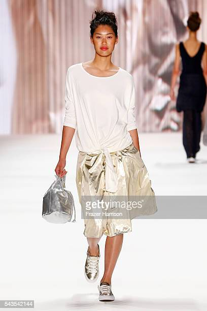 Model Anuthida Ploypetch walks the runway at the Minx by Eva Lutz show during the MercedesBenz Fashion Week Berlin Spring/Summer 2017 at Erika Hess...