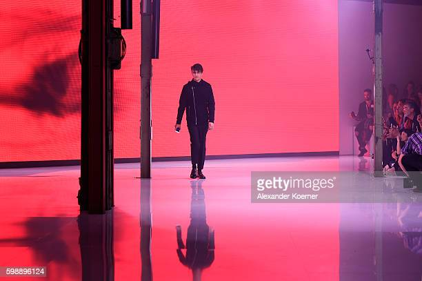 Model Anwar Hadid walks the runway at the Hugo fashion show during the Bread & Butter by Zalando at arena Berlin on September 3, 2016 in Berlin,...