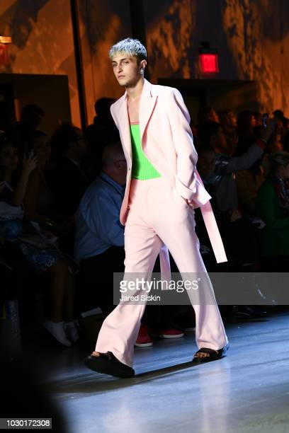 Model Anwar Hadid walks the runway at the Prabal Gurung fashion show during New York Fashion Week at Spring Studios on September 9 2018 in New York...