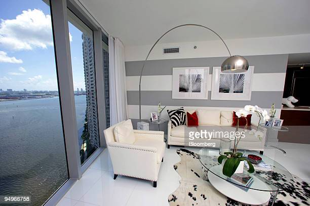 A model apartment unit at the Brickell Icon condo development in Miami Florida US looks out over Biscayne Bay on Wednesday Aug 12 2009 The developer...