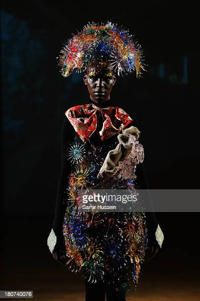 A model appears at the Little Shilpa presentation at London Fashion Week SS14 at Freemasons Hall on September 16 2013 in London England