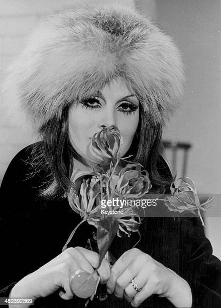 Model April Ashley wearing a fur hat and smelling a flower following her sexchange scandal and the annulment of her marriage February 3rd 1970