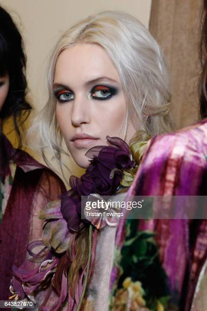Model are seen backstage ahead of the Alberta Ferretti show during Milan Fashion Week Fall/Winter 2017/18 on February 22 2017 in Milan Italy