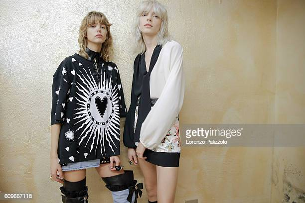 Model are seen backstage ahead of the Fausto Puglisi show during Milan Fashion Week Spring/Summer 2017 on September 21 2016 in Milan Italy
