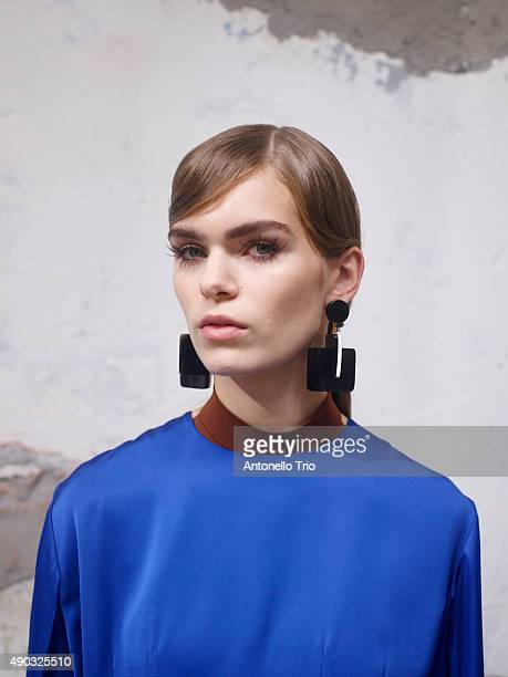 A model are seen backstage ahead of the Marni show during Milan Fashion Week Spring/Summer 2016 on September 27 2015 in Milan Italy