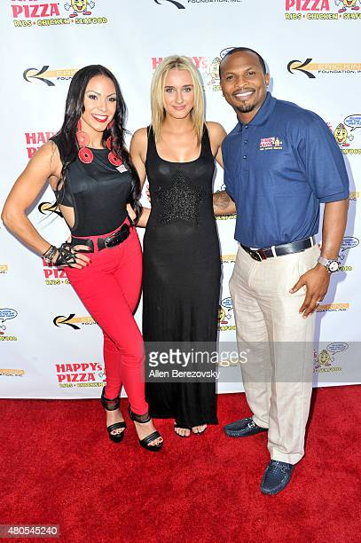 Model Aria Slovacek attends the grand opening of Happy's Pizza hosted by Eric King and Soulfia King on July 12 2015 in Los Angeles California