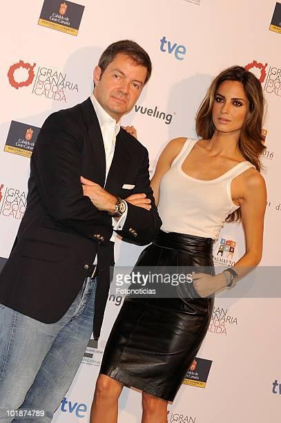 Model Ariadne Artiles and designer Javier Larrainzar promote Gran Canaria Moda Calida at Espacio Villanueva on June 8 2010 in Madrid Spain