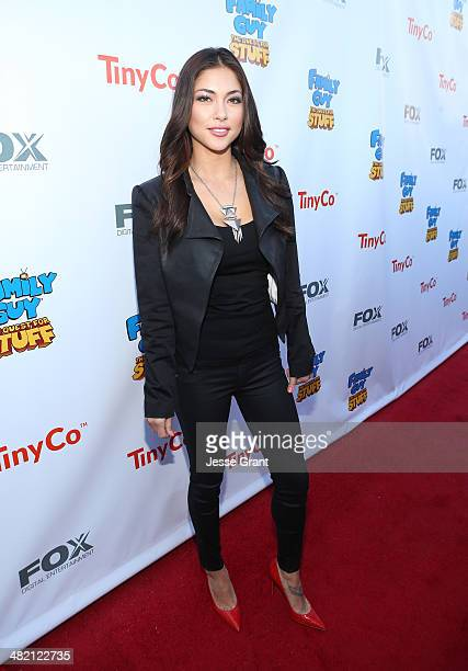 Model Arianny Celeste attends the FAMILY GUY The Quest For Stuff Los Angeles Premiere Party at The Happy Ending Bar Restaurant on April 2 2014 in...