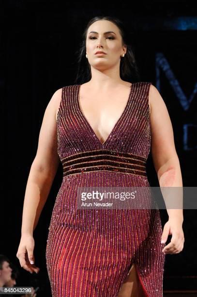 Model Arissa Seagal walks the runway for Mac Duggal at New York Fashion Week NYFW Art Hearts Fashion at The Angel Orensanz Foundation on September 9...