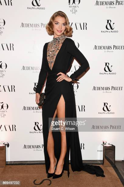 Model Arizona Muse arrives at the Harper's Bazaar Woman Of The Year Awards held at Claridges Hotel on November 2 2017 in London England