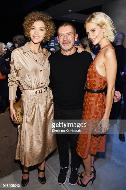 Model Arizona Muse Bottega Veneta Creative Director Tomas Maier and Poppy Delevingne attend the Bottega Veneta Fall/Winter 2018 fashion show at New...
