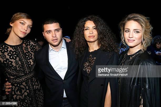 Model Arizona Muse Elie Saab Junior the son of designer Elie Saab TV Host Afef Jnifen and Actress Dianna Agron attend the Elie Saab show as part of...