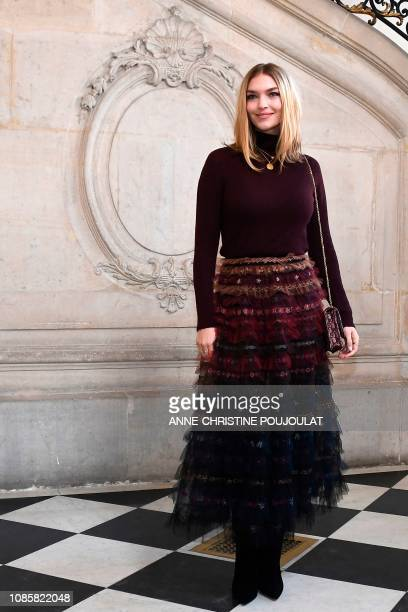 US model Arizona Muse poses during a photocall prior to the 2019 SpringSummer Haute Couture collection fashion show by Christian Dior in Paris on...