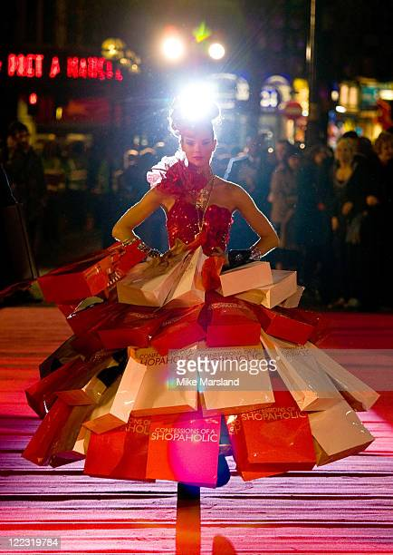 A model arrives at the UK Premiere of Confessions of a Shopaholic at the Empire Leicester Square on February 16 2009 in London England
