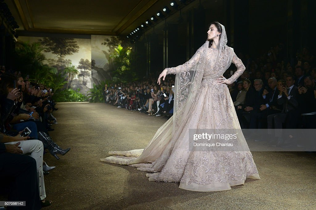 A model as the bride walks the runway during the Elie Saab Haute Couture Spring Summer 2016 show as part of Paris Fashion Week on January 27, 2016 in Paris, France.