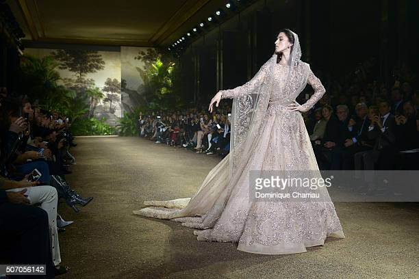 A model as the bride walks the runway during the Elie Saab Haute Couture Spring Summer 2016 show as part of Paris Fashion Week on January 27 2016 in...