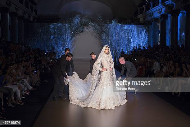 A model as the bride walks the runway during the Ralph Russo show finale as part of Paris Fashion Week Haute Couture Fall/Winter 2015/2016 on July 6...