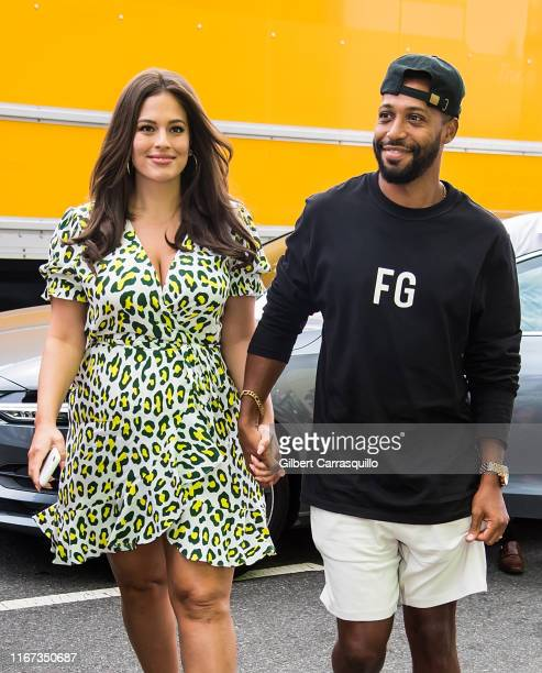 Model Ashley Graham and film director Justin Ervin are seen arriving to S by Serena Williams Fashion Show during New York Fashion Week on September...