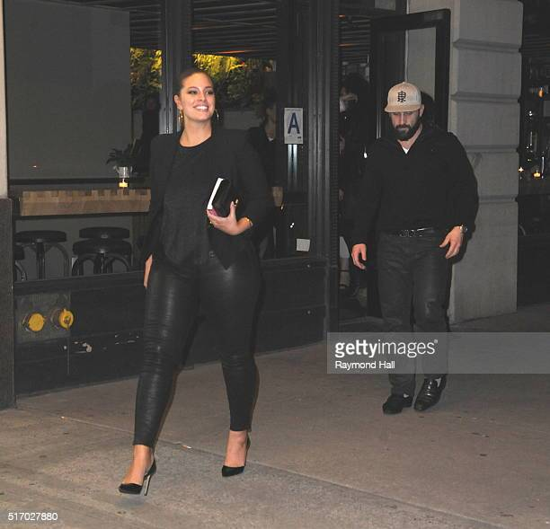Model Ashley Graham and friends are seen coming out of Aturium in DMBO in Brooklyn on March 22 2016 in New York City
