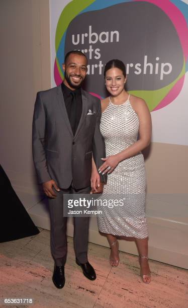 Model Ashley Graham and Justin Ervin attend the celebration of Urban Arts Partnership 25th Anniversary Benefit at Cipriani Wall Street on March 15...