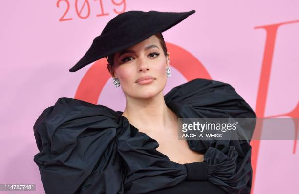 US model Ashley Graham arrives for the 2019 CFDA fashion awards at the Brooklyn Museum in New York City on June 3 2019