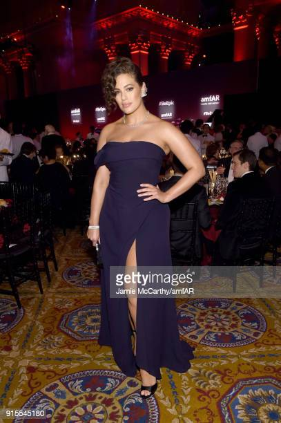 Model Ashley Graham attends the 2018 amfAR Gala New York at Cipriani Wall Street on February 7 2018 in New York City