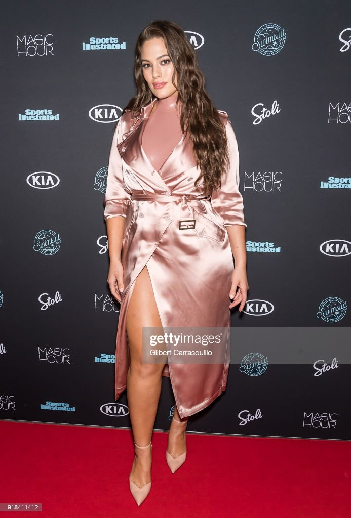 Model Ashley Graham attends the 2018 Sports Illustrated Swimsuit Issue Launch Celebration at Magic Hour at Moxy Times Square on February 14, 2018 in New York City.