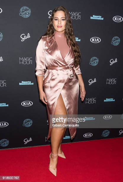 Model Ashley Graham attends the 2018 Sports Illustrated Swimsuit Issue Launch Celebration at Magic Hour at Moxy Times Square on February 14 2018 in...