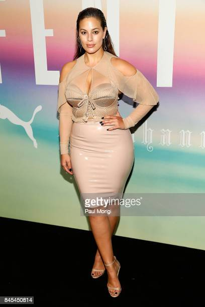Model Ashley Graham attends the Fenty Puma by Rihanna show during New York Fashion Week at the 69th Regiment Armory on September 10 2017 in New York...