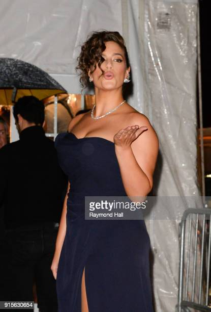 Model Ashley Graham is seen arriving to the 2018 amfAR Gala New York at Cipriani Wall Street on February 7 2018 in New York City