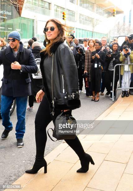 Model Ashley Graham is seen leaving Michael Kors Show on February 14 2018 in New York City