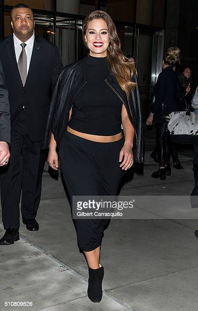 Model Ashley Graham is seen leaving Sports Illustrated Swimsuit 2016 NYC VIP press event and getting to a bus on her way to Miami on February 16 2016...