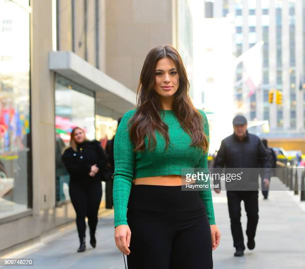 """Model Ashley Graham is seen leaving the """"Today Show"""" on January 24, 2018 in New York City."""