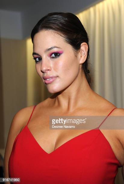 Model Ashley Graham poses backstage for the Christian Siriano fashion show during New York Fashion Week at the Grand Lodge on February 10, 2018 in...