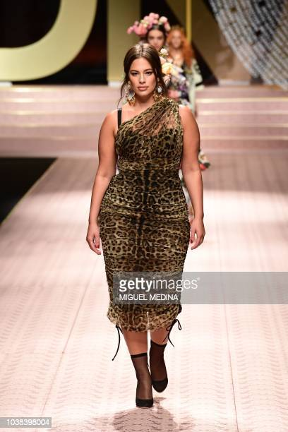 US model Ashley Graham presents a creation during the Dolce Gabbana fashion show as part of the Women's Spring/Summer 2019 fashion week in Milan on...