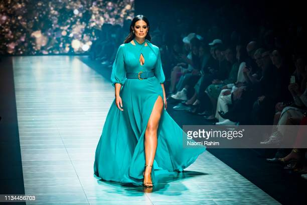 US model Ashley Graham showcases designs by Jason Grech at Melbourne Fashion Festival on March 7 2019 in Melbourne Australia