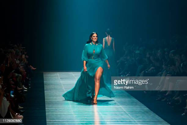 US model Ashley Graham showcases designs by Thurley at Melbourne Fashion Festival on March 7 2019 in Melbourne Australia