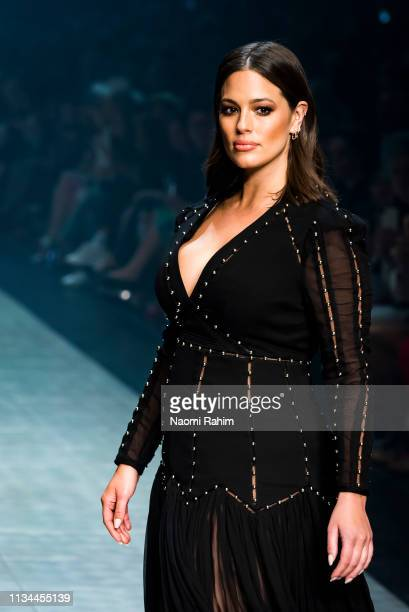 Model Ashley Graham showcases designs by Thurley at Melbourne Fashion Festival on March 7, 2019 in Melbourne, Australia.