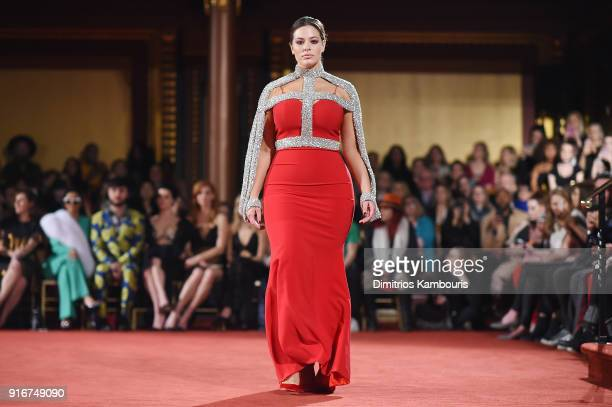 Model Ashley Graham walks the runway at the Christian Siriano fashion show during New York Fashion Week at Grand Lodge on February 10, 2018 in New...