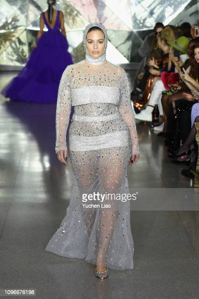 Model Ashley Graham walks the runway for the Christian Siriano fashion show during New York Fashion Week The Shows at Top of the Rock on February 9...