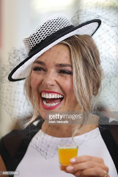 Model Ashley Hart poses at the Swisse Marquee on Derby Day at Flemington Racecourse on November 1 2014 in Melbourne Australia