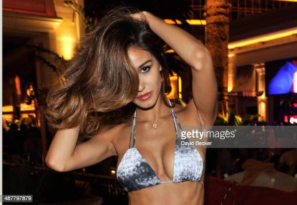 Model Ashley Sky appears during the Encore Beach Club at Night launch at the Encore Beach Club at Wynn Las Vegas on May 1 2014 in Las Vegas Nevada
