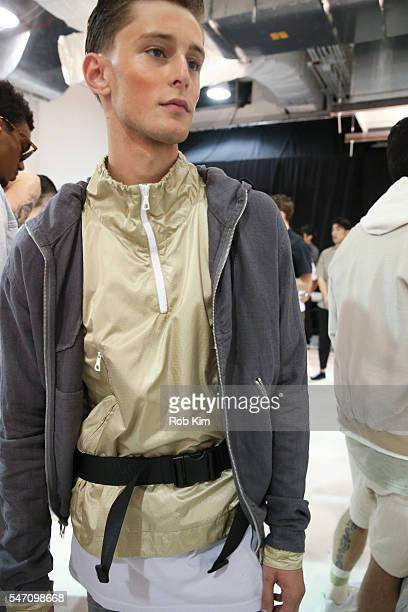 Model at first look backstage at the John Elliott fashion presentation during New York Fashion Week: Men's S/S 2017 at Skylight Clarkson Sq on July...