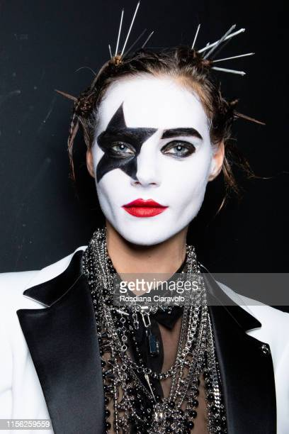 A model at the backstage at the Philipp Plein Beauty show during the Milan Men's Fashion Week Spring/Summer 2020 on June 15 2019 in Milan Italy