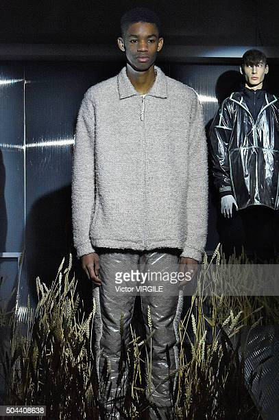 Model at the Cottweiller presentation during The London Collections Men AW16 on January 8, 2016 in London, England.