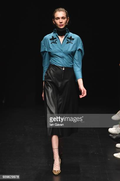 A model at the Exquise presentation during Mercedes Benz Fashion Week Istanbul at Zorlu Performance Hall on March 29 2018 in Istanbul Turkey