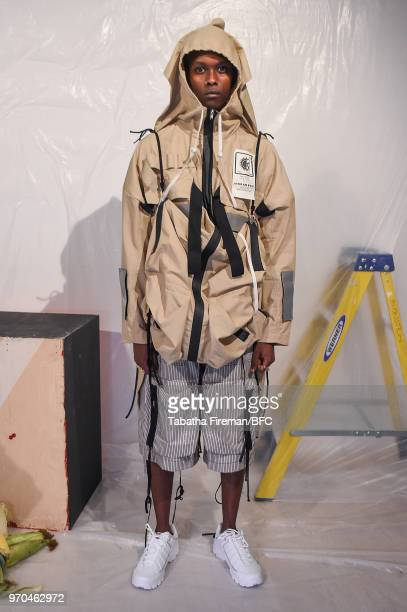 Model at the JORDANLUCA - DiscoveryLab during London Fashion Week Men's June 2018 at BFC Show Space on June 9, 2018 in London, England.
